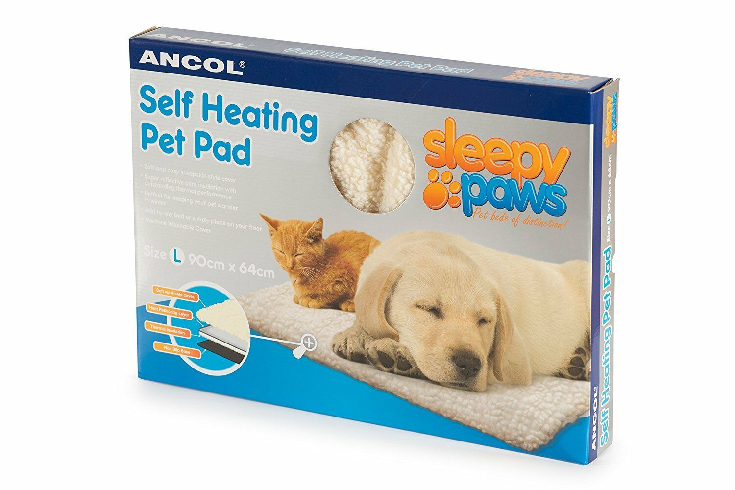 Ancol - Self Heating Pet Pad Cat Dog Bed - Large