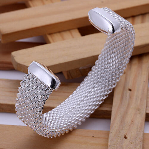 Cool Argent Sterling 925 treillis Circle Femmes Hommes Cuff Bangle Bracelet B029