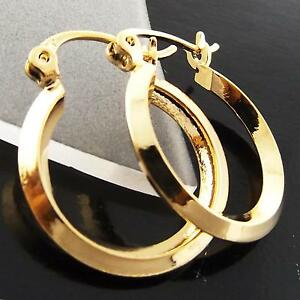 Details About Earrings Hoops Genuine Real 18k Yellow G F Gold Men S Las Uni Knife Design