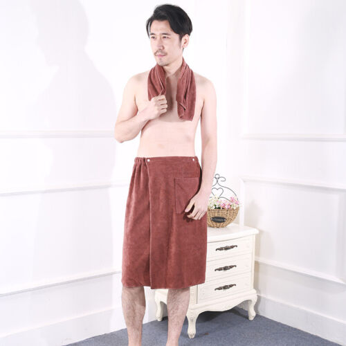 Men Wearable Bath Towel with Pocket Face Towel Soft Mircofiber Beach Towel Home