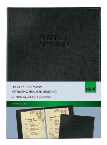 Sigel SM131 Speisekarten Mappe DIN A4 Menükarte Tischkarten Platzkarten schwarz
