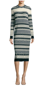 348 NWT TORY BURCH JULIE MIXED STRIPE KNITTED COTTON SWEATER DRESS IVORY blueE S