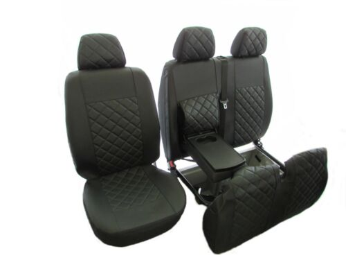 MERCEDES SPRINTER VW CRAFTER 2002-2006 RHD ALL BLACK  ECO LEATHER 2+1 Seat Cover