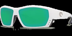 Costa Del Mar Tuna Alley White Green Mirror Sunglasses 580G Glass TA 25 OGMGLP