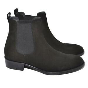 Chelsea Boots stivali uomo LS Luisantiago in vera pelle scamosciata nero fondo c
