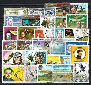 Aviateurs-Aviators-100-timbres-differents-obliteres