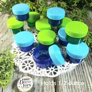 12-Green-Blue-Jars-Screw-on-Lids-1-TBLSP-1-2-oz-Containers-3803-DecoJars-USA
