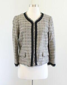 NWT-Ann-Taylor-Loft-Tan-Black-Woven-Tweed-Fringe-Collarless-Blazer-Jacket-Size-8