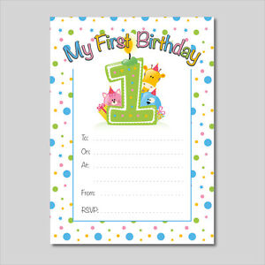 Details About My 1st Birthday Party Invitation 16 A6 Cards Ideal For Kids Birthday Boys