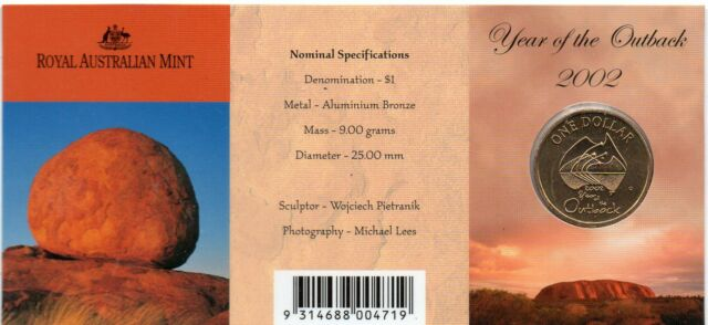 """2002 AUSTRALIAN ONE DOLLAR  """"YEAR OF THE OUTBACK"""" 'C' MINTMARK"""