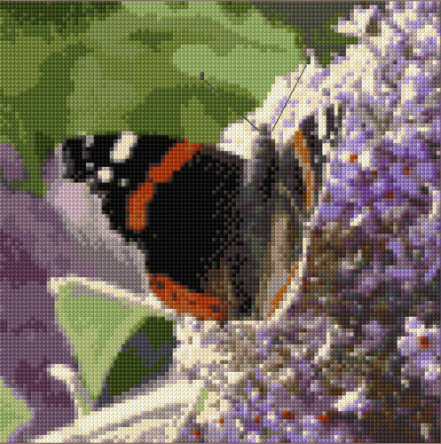 """Red Admiral Butterfly on Buddleia 8/"""" Square Cross Stitch Kit 14 Count Aida"""