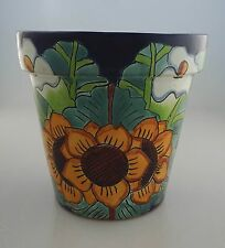 Mexican Ceramic Flower Pot Planter Folk Art Pottery Handmade Talavera # 09