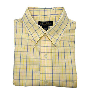 Brooks-Brothers-Men-s-Long-Sleeve-Dress-Shirt-Large-Yellow-With-Blue-Stripes