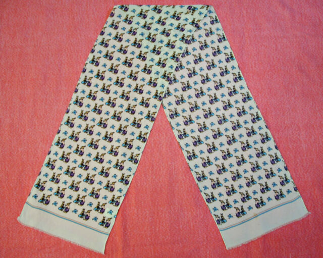 """VINTAGE EASTER ANIMAL ART RABBITS OFF WHITE BROW SILK LONG SCARF SIZE:9""""x 54"""""""