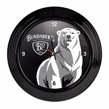122599 BUNDABERG BLACK ROUND CLOCK BUNDY RUM