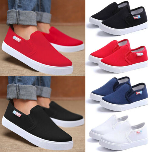 Boys Girls Casual School Shoes Kid Flat Trainers Canvas Shoes Pumps Loafers Size