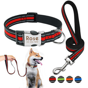 Reflective-Personalized-Dog-Collar-amp-Leash-Set-Custom-ID-Engraved-Release-Buckle