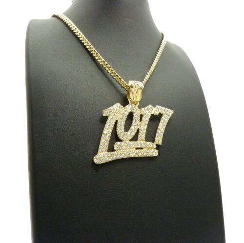 """corde Cubain Chaîne Hip Hop Collier Iced Out Bling numéro 1017 Pendentif /& 24/"""" Boîte"""
