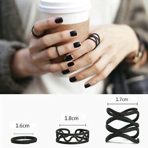 Punk-Womens-Black-Stack-Plain-Above-Knuckle-Ring-Midi-Finger-Tip-Rings-Set-2017