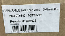 Pack Of 500 Inspection Tags 2 Part Pre Wired 4 34x 2 38 Green