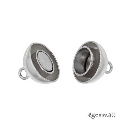Rhodium Plated Sterling Silver Magnetic Ball Clasp 10mm #99234