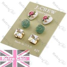 3prs studs GOLD TONE vintage chintz HEART/ROSE/FAUX CITRINE SQUARE stud earrings