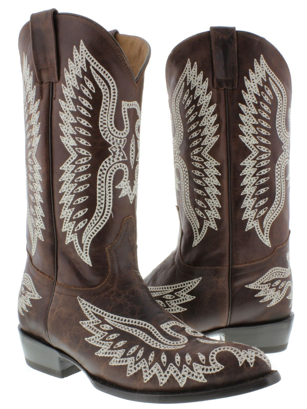 Men's Chocolate Brown Classic Leather Western Cowboy Boots Riding J Toe