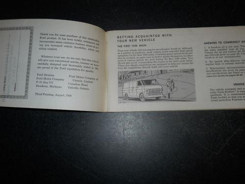 1969 FORD ECONOLINE CLUB WAGON OWNER/'S MANUAL 69 CDN VAN