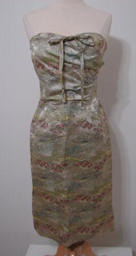 Vintage Dress UCS Studio Stamped Silk Farm Field S