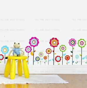 18-Colorful-Flower-Wall-Art-Decal-Stickers-Peel-Stick-Wallborder-Paper-Kids-Room