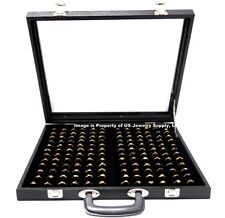 X Large 144 Ring Black Glass Top With Handle Portable Sales Display Storage Case