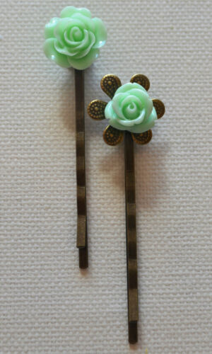 Hair Pin Grip Clips Slides Bobby Pins Wedding Accessories Beads Rose Bronze Tone