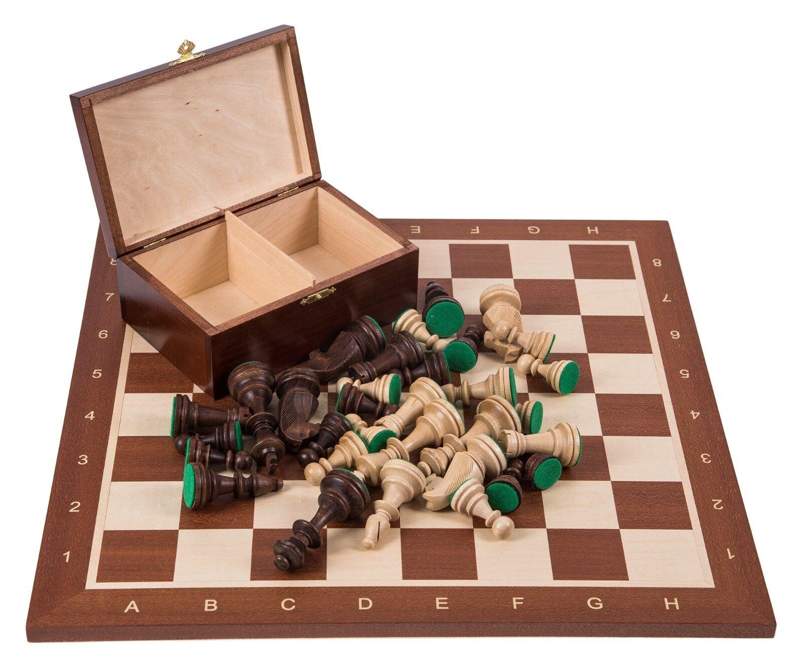 Square-Pro boisen Chess Set No 6-Mahogany-chessboard boisen  + Staunton  bonne qualité