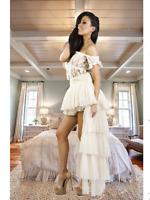 Cream Steampunk * Gothic * Gypsy * Burlesque Bustle Long Tutu Skirt