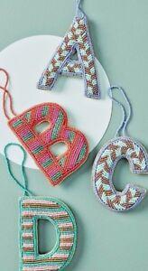 New NIP Anthropologie Glass Beaded Monogramed Ornament Letter S