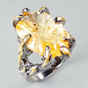 Unique-Jewelry-Natural-Citrine-925-Sterling-Silver-Ring-Size-8-R122208