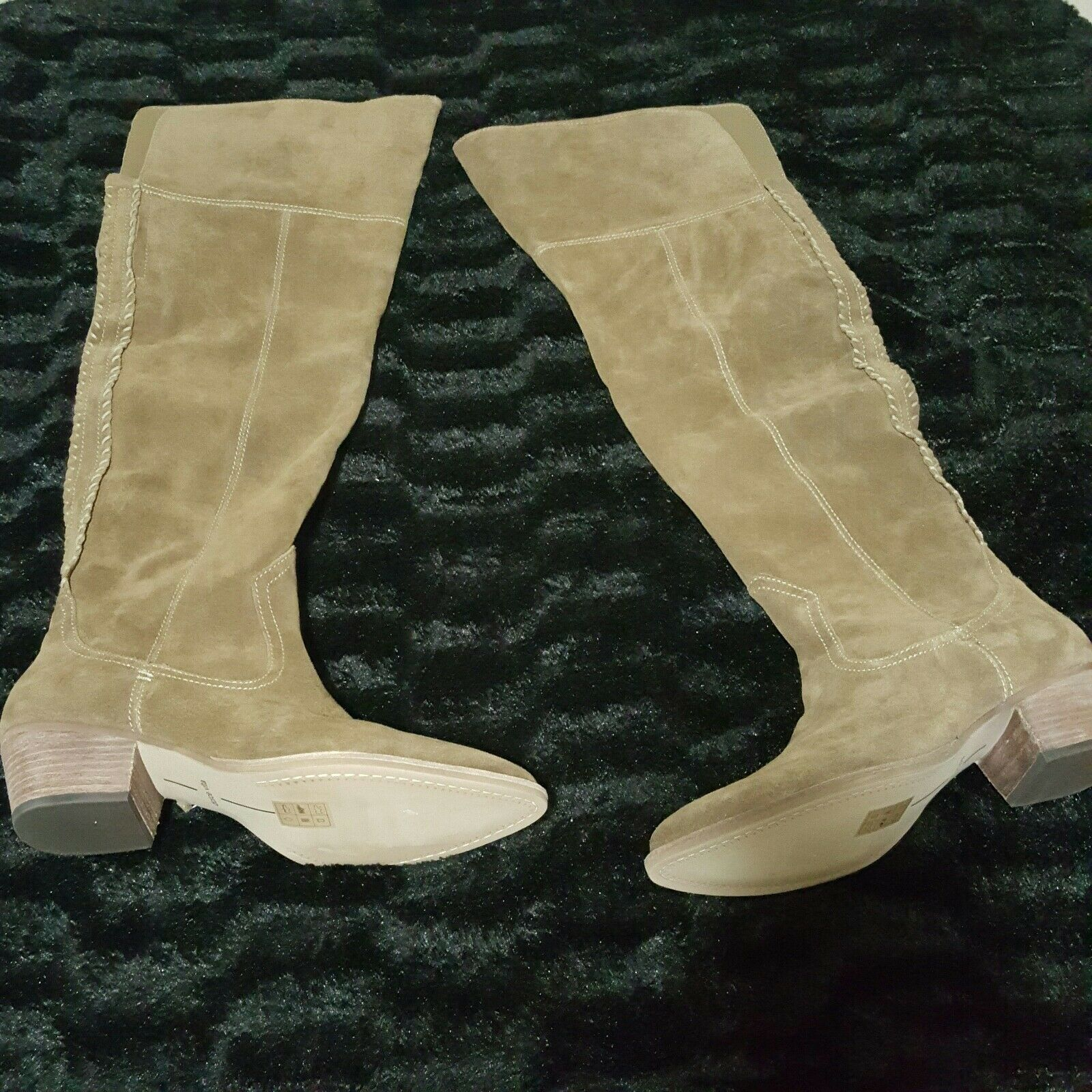 NEW Dolce Vita Sz 9.5 Boots Womens SILAS Over the Knee $300 Khaki Suede Tall 2
