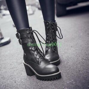 New-Womens-Punk-Gothic-Autumn-Lace-Up-Cuban-Heels-Ankle-Boots-Platform-Shoes-Sz
