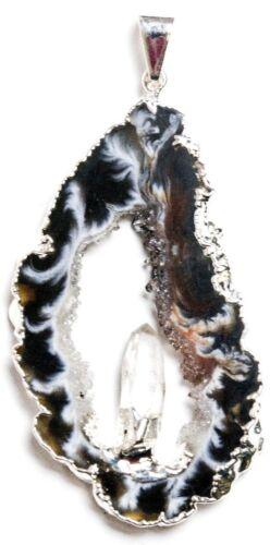 Achatring Anhänger Bergkristall 45mm silberplattiert