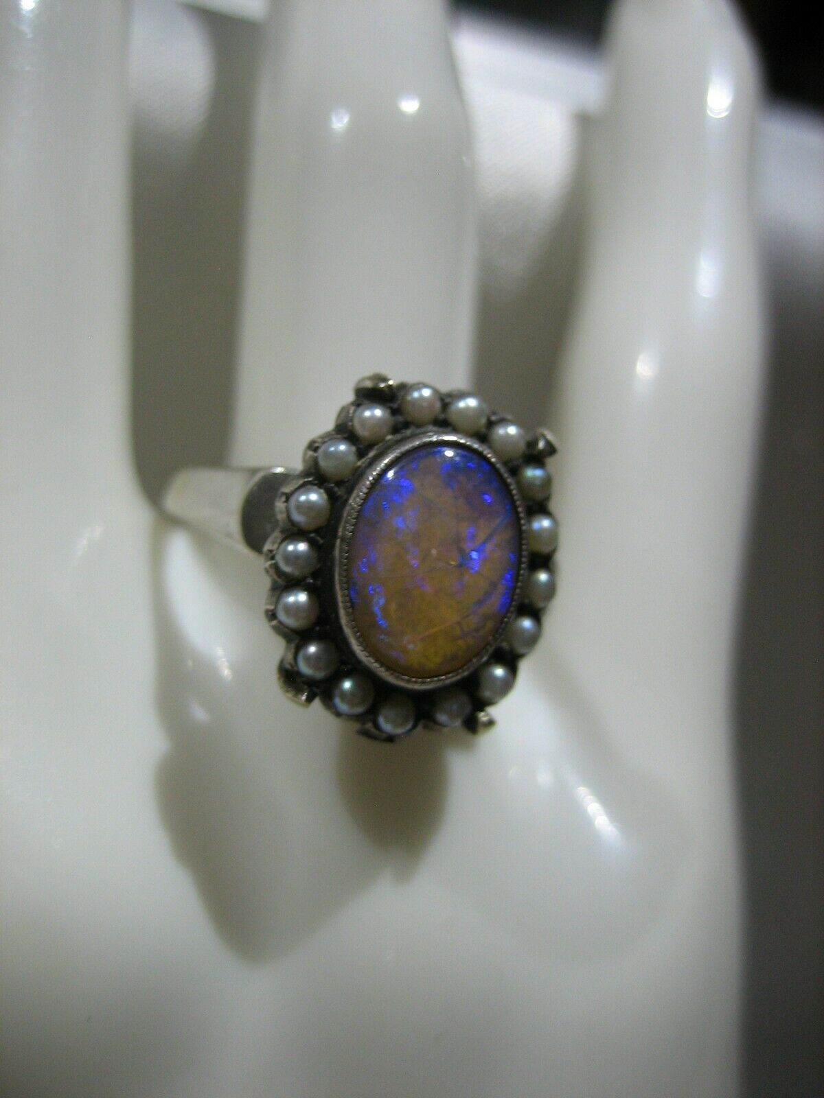 ESTATE VICTORIAN 14K WHITE GOLD OPAL AND SEED PEA… - image 7
