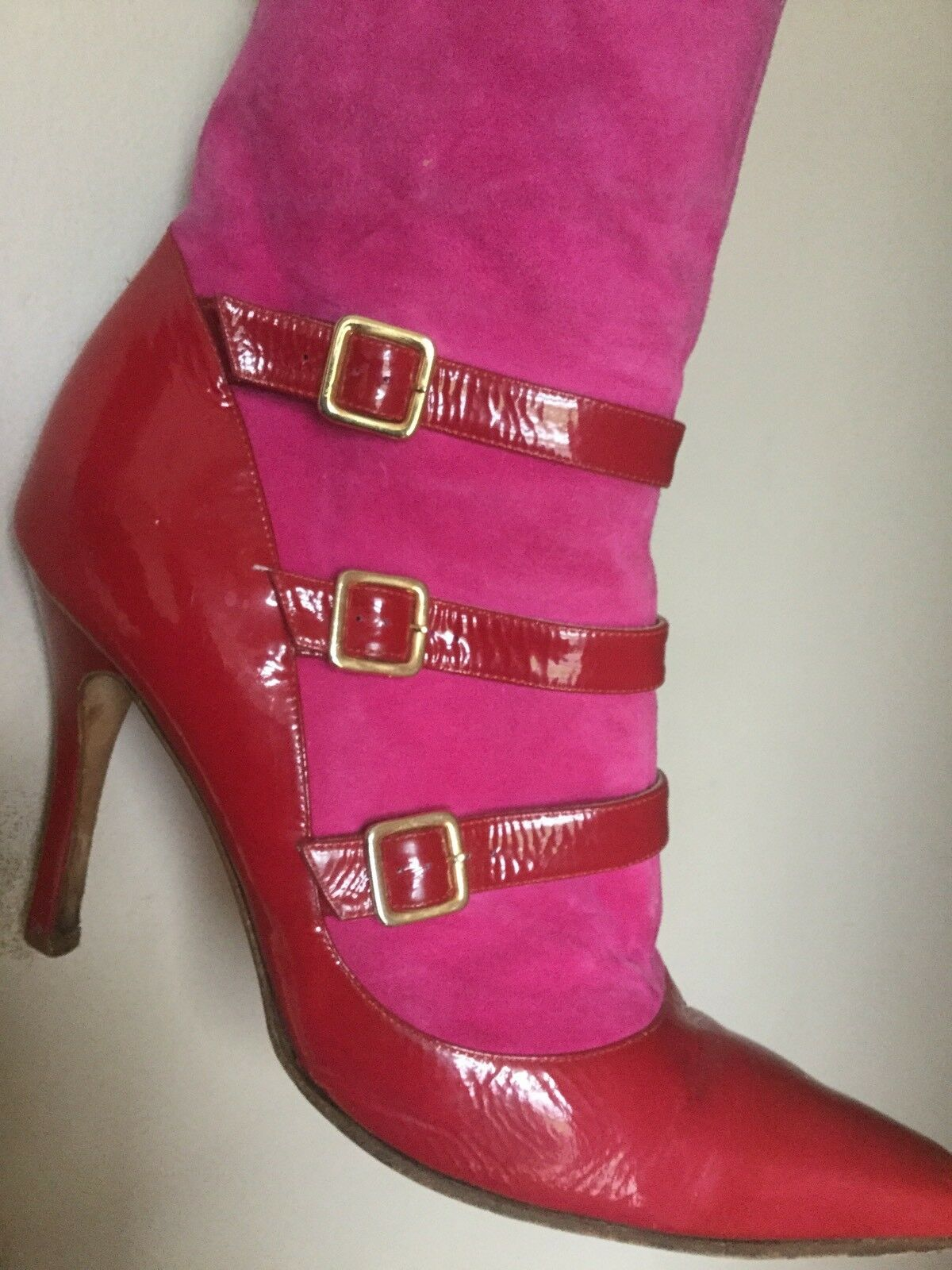 GINA PINK RED PATENT SUEDE LEATHER CHAP BOOTS DESIGNER SEXY 7 40