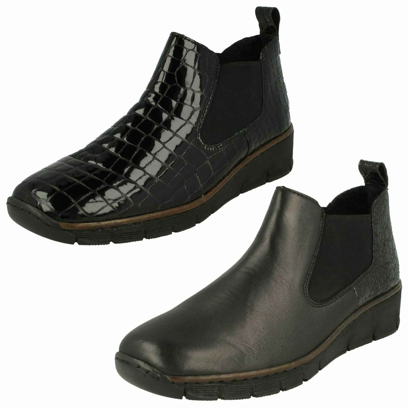 LADIES RIEKER schwarz PATENT LEATHER WEDGE LOW HEEL SLIP ON ANKLE Stiefel 53794