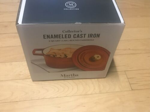 Martha Stewart Collector/'s Enameled Cast Iron 2 QT Pumpkin Knob Orange Round