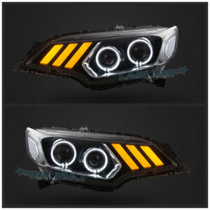 Image Is Loading Led Drl Projector Mustang Look Headlights For Honda