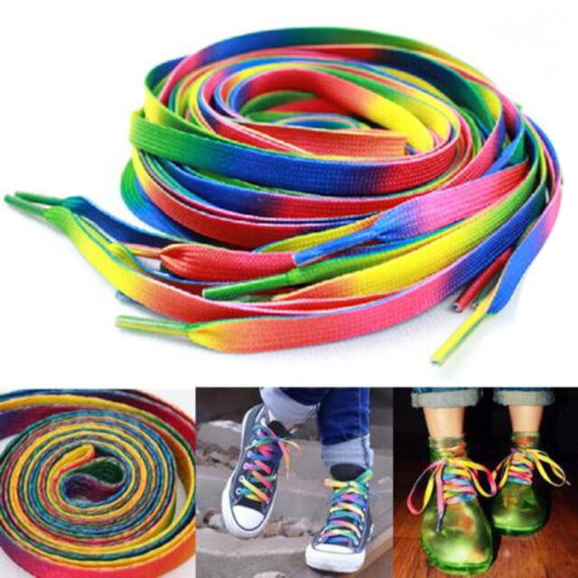 2 Pairs Flat Rainbow Shoe Laces Long Shoelaces Bootlaces  8MM J&S