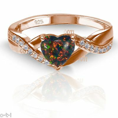 Jewelry & Watches Lovely 18k Rose Gold Plated Black Moon Fire Stone Opal Heart Cut Infinity Celtic Ring