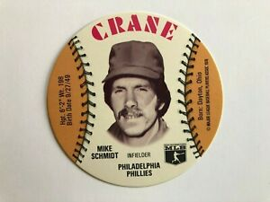 1976-Crane-Potato-Chips-Baseball-MIKE-SCHMIDT-Philadelphia-Phillies-NM-MT-Disc