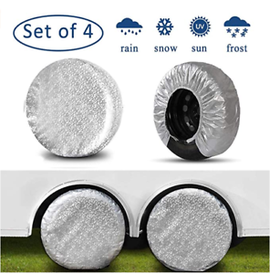 Kayme Four Layers Tire Covers Set of 4 for Rv Travel Trailer Camper Vinyl Wheel,