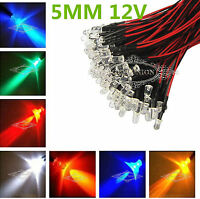 Bulk  XMAS Prewired LED 5mm 12V Warm Red Green Blue Yellow UV Pink Orange Lamp