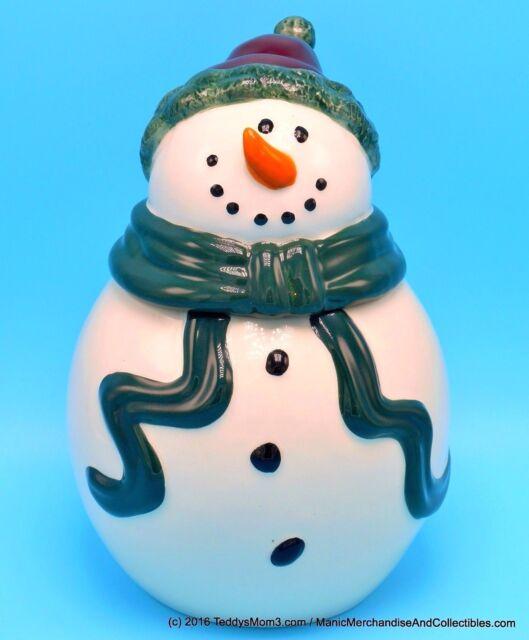 "Bella Casa Christmas Snowman Cookie Jar Biscuits Treats Holiday Decor 10"""